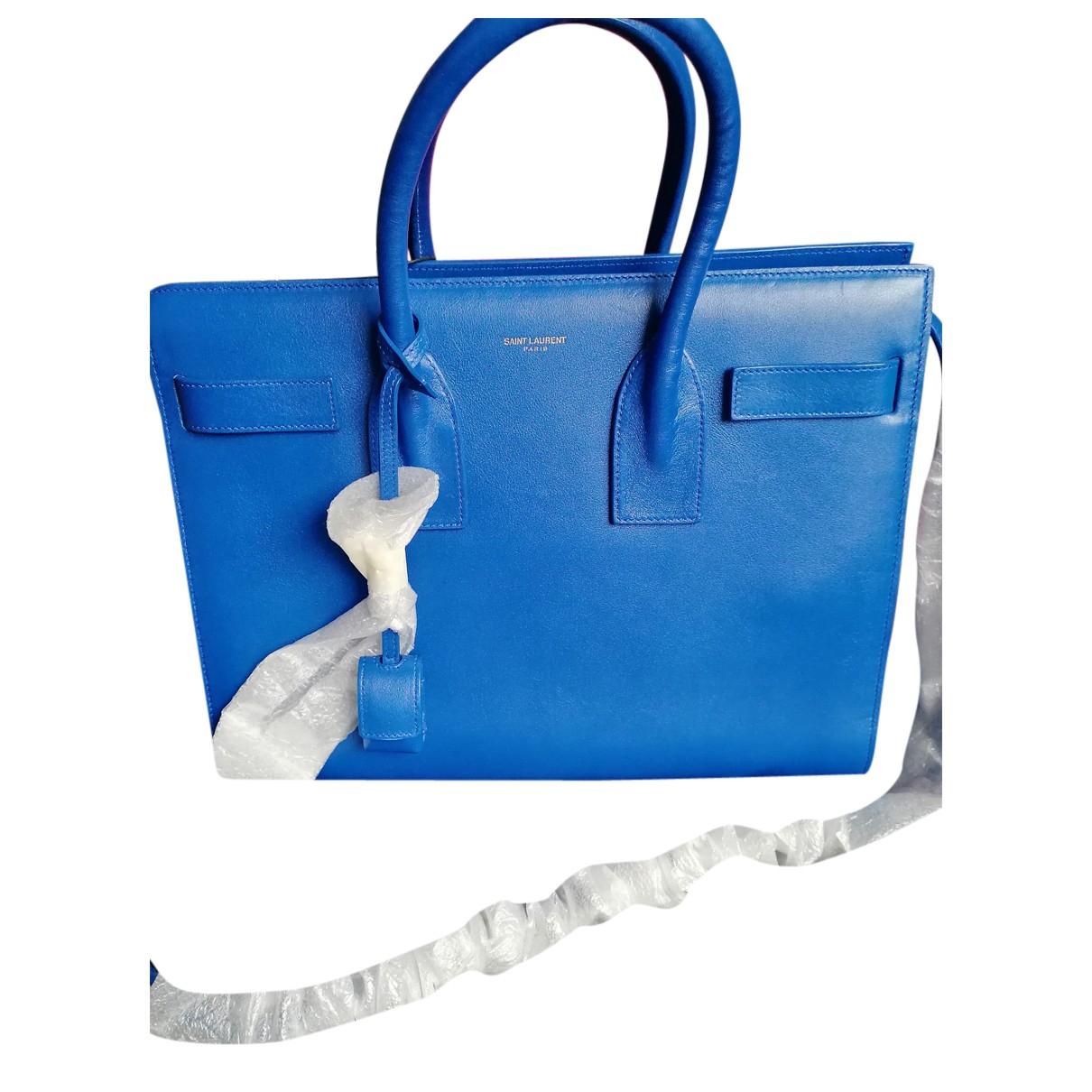 Saint Laurent Jane Handtasche in  Blau Leder