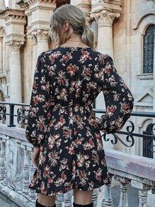 Kaufen Sie SHEIN A-Linie Kleid mit Blumen Muster ...