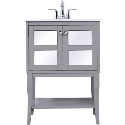 VF2101MR 24 Single Bathroom Mirrored Vanity Set In