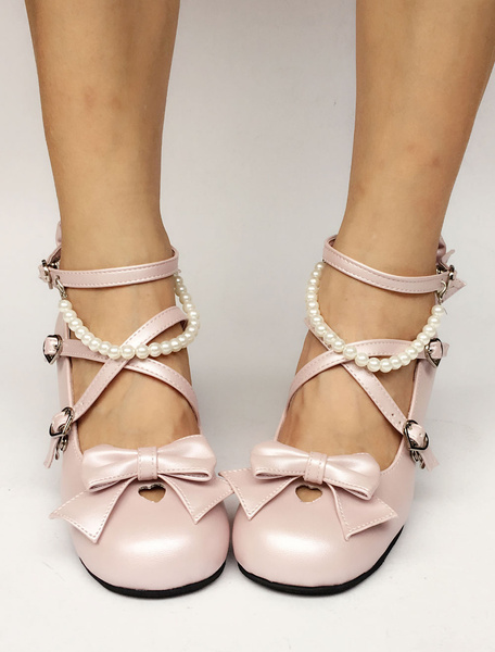 Milanoo Sweet Lolita Shoes Pearl Pink Bow Cross Front Ankle Strap Heeled Lolita Pumps