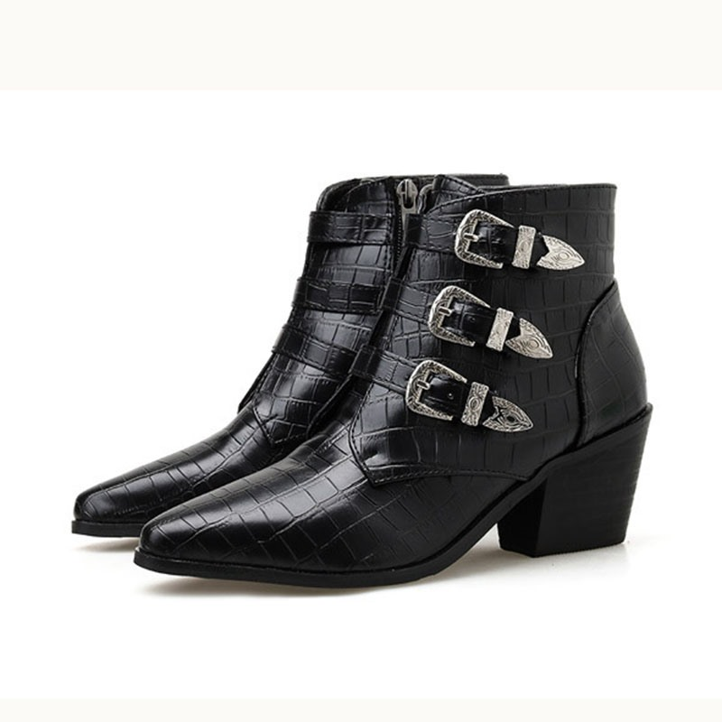 Ericdress Chunky Heel Pointed Toe Side Zipper Alligator Pattern Boots