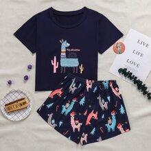 Christmas Alpaca Print Pajama Set