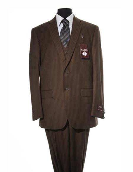 Men's Brown  Design 2 Button Suit With Matching Vest