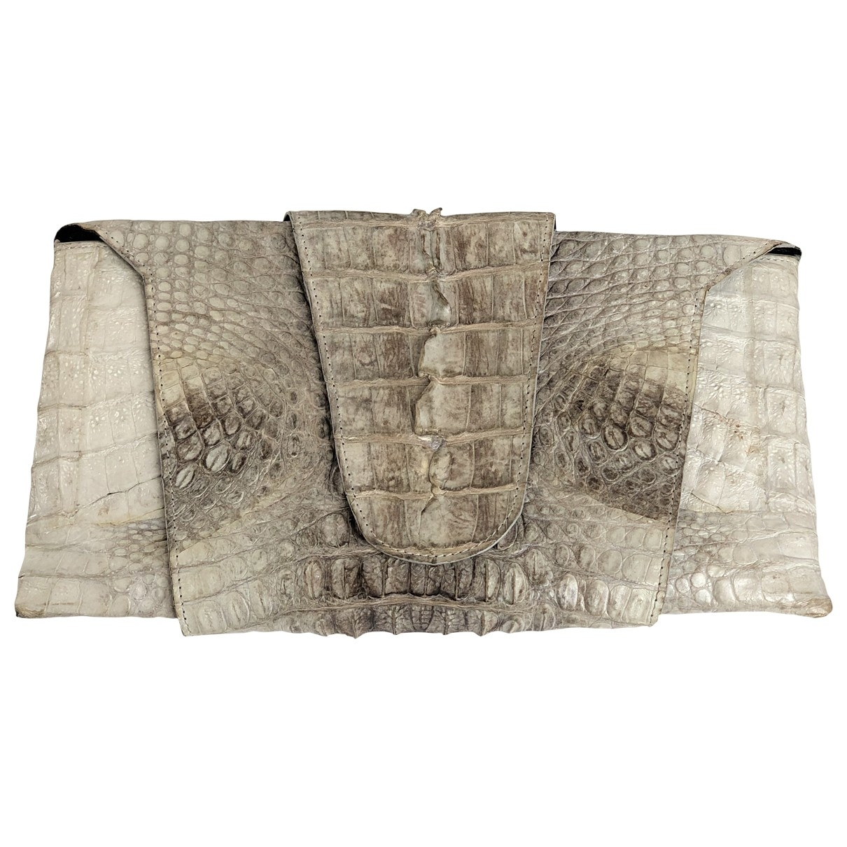 Non Signé / Unsigned \N White Crocodile Clutch bag for Women \N