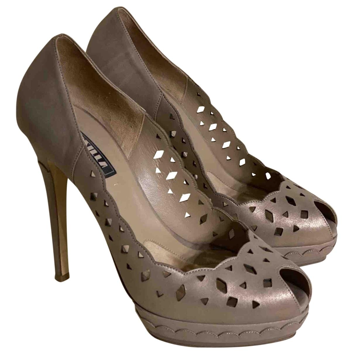 Le Silla - Escarpins   pour femme en cuir - metallise