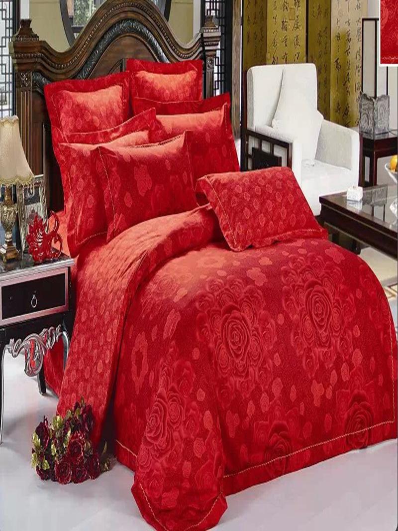 Vivilinen Red Flower Print 4-Piece Polyester Duvet Cover Sets