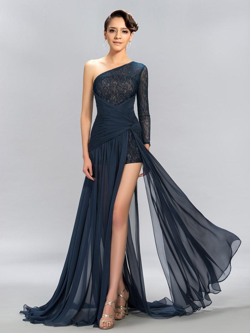 One Shoulder Lace Split Front-Evening Dress