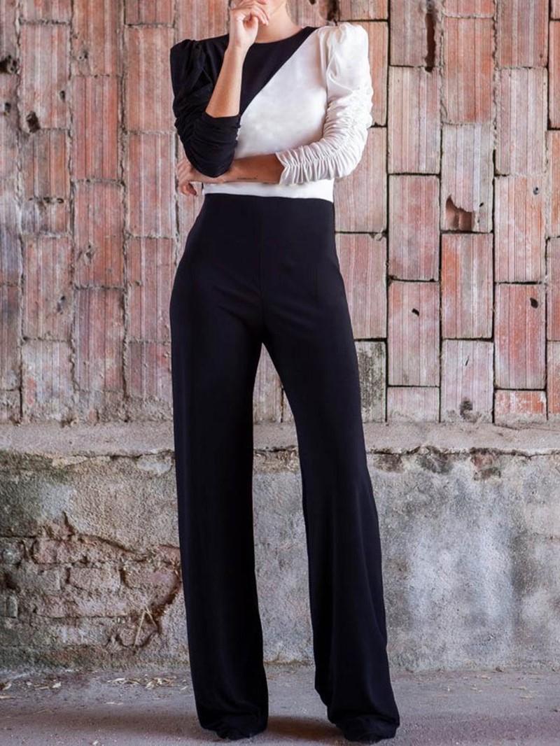 Ericdress Color Block Elegant Full Length Straight High Waist Jumpsuit