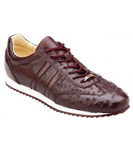 Men's Lace Up Genuine Ostrich Casual Leather Dark Burgundy Sneakers