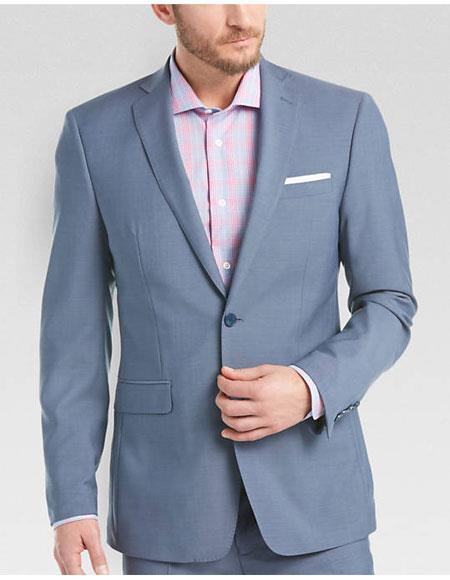 Mens Sky Blue ~ Light Blue Slim Fit Suits Business Looking Suit