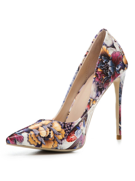 Milanoo Women Dress Shoes White Pointed Toe Floral Printed High Heels
