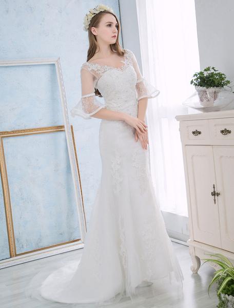 Milanoo Mermaid Wedding Dresses Ivory Lace Applique Bridal Dress Beaded Half Sleeve V Neck V Back Wedding Gown With Train