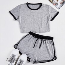 Ringer Crop Top & Dolphin Shorts