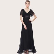 Ruched Bodice Ribbon Waist Chiffon Prom Dress