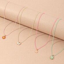 4pcs Toddler Girls Flower Pendant Necklace