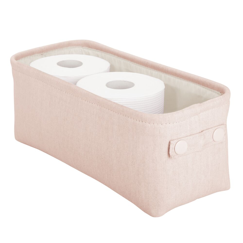 Small Fabric Bathroom Storage Bin with Coated Interior in Light Pink, 15