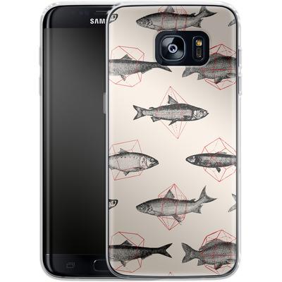 Samsung Galaxy S7 Edge Silikon Handyhuelle - Fishes in Geometrics von Florent Bodart