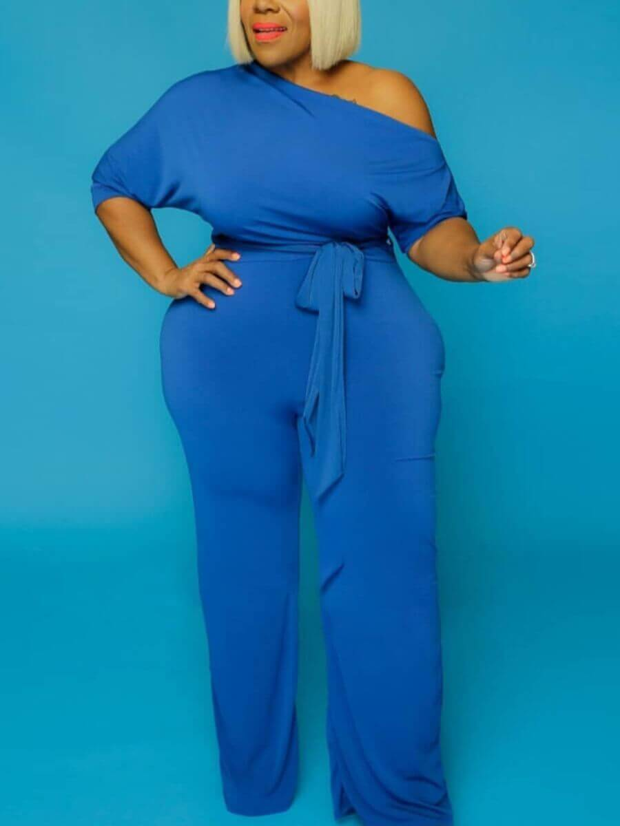 LW Lovely Casual Drawstring Blue Plus Size One-piece Jumpsuit