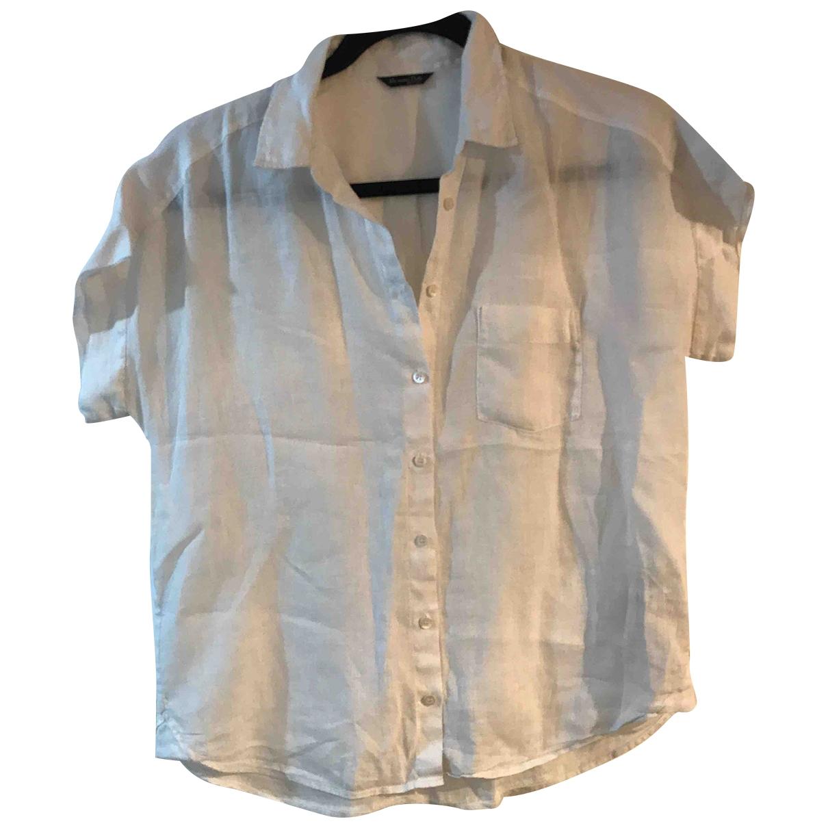 Massimo Dutti - Top   pour femme en lin - blanc