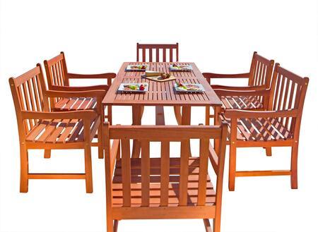 V189SET10 Malibu Eco-Friendly 7-Piece Wood Outdoor Dining