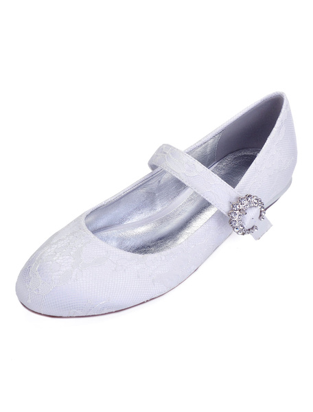 Milanoo Champagne Bridesmaid Shoes Lace Round Toe Rhinestones Mary Jane Shoes Wedding Shoes