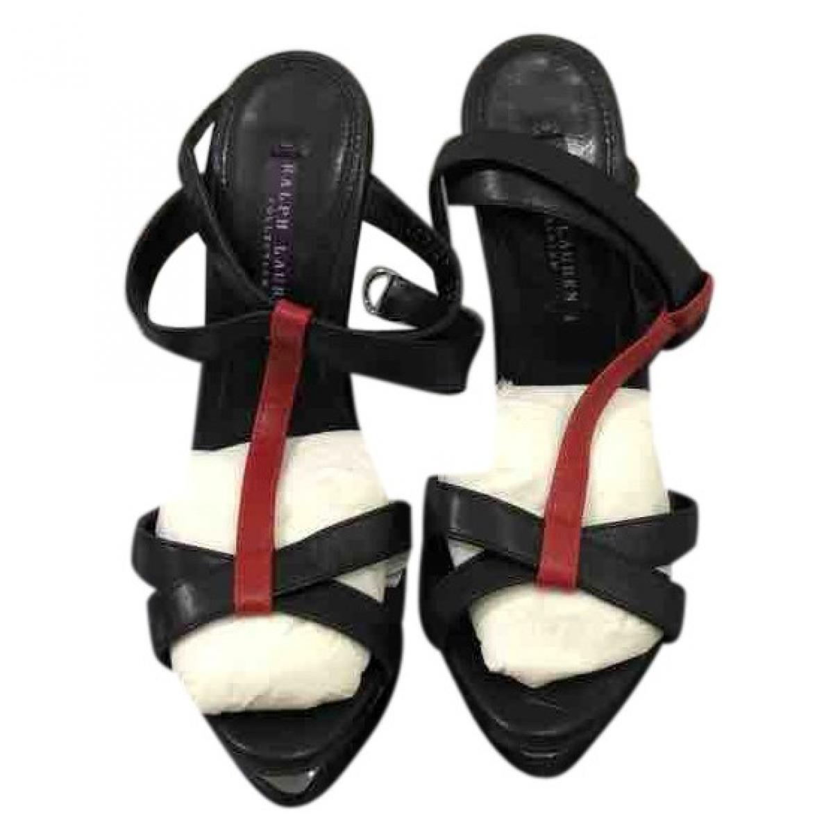 Ralph Lauren - Sandales   pour femme en cuir - noir