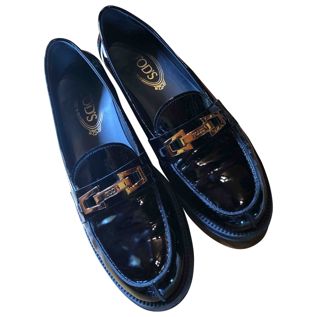 Tod's Gommino Black Patent leather Flats for Women 39 EU
