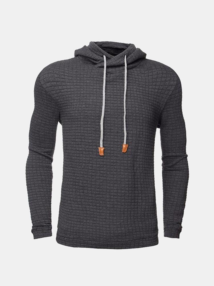 Fall Winter Cozy Hoodie Warm Hooded Solid Color Slim Fit Sweatshirt for Men