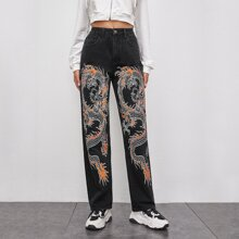Chinese Dragon Graphic Straight Jeans