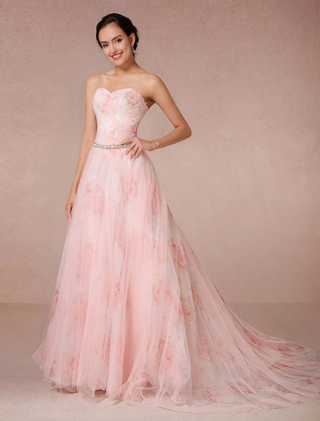 Milanoo Pink Wedding Dress Flowers Prints Tulle Bridal Gown Strapless Sweetheart Quinceanera Dress Rhinestone Sash Backless Pageant Dress