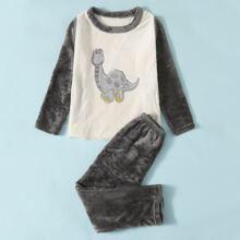 Conjunto de pijama de franela con bordado de dibujos animados