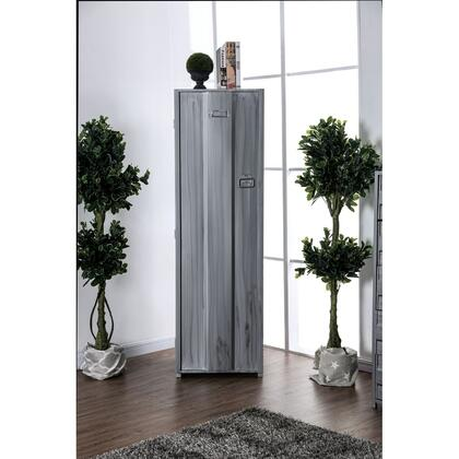 BM187178 Contemporary Metal Locker Inspired Armoire with Two Shelves and Metal Pulls