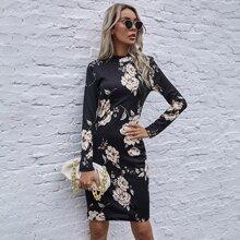 Figurbetontes Kleid mit Blumen Muster und Stehkragen