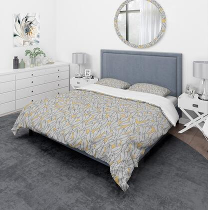 BED19020-Q Designart 'Abstract Monochromic Pattern With Contour Leaves' Modern & Contemporary Duvet Cover