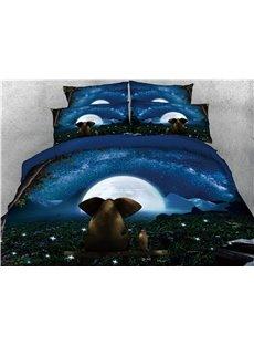 3D Elephant & Night Moon Digital Printed 4-Piece Black Bedding Sets/Duvet Covers