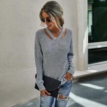 Cut Out Drop Shoulder Sweater