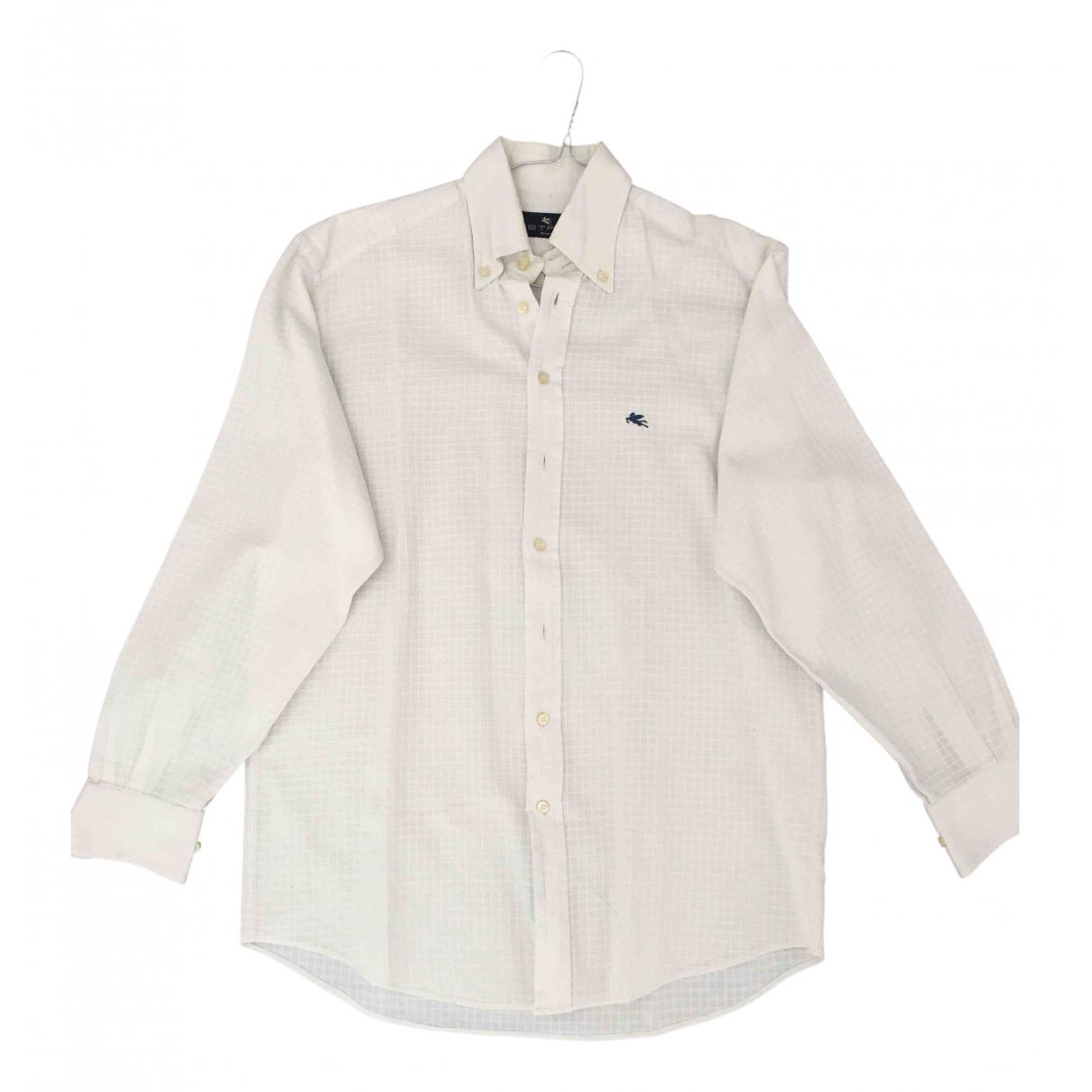 Etro \N White Cotton Shirts for Men 39 EU (tour de cou / collar)