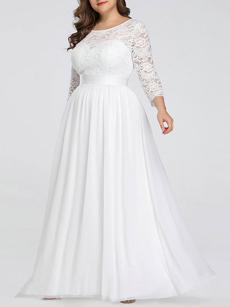 Milanoo Plus Size A-line Wedding Dresses Floor-Length 3/4 Length Sleeves Lace Jewel Neck Bridal Gowns