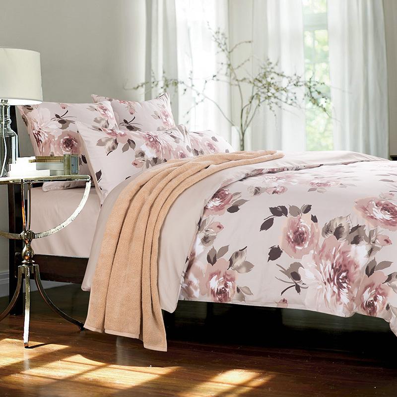 European Floral Reactive Printing Three-Piece Set Duvet Cover Set Polyester Bedding Sets