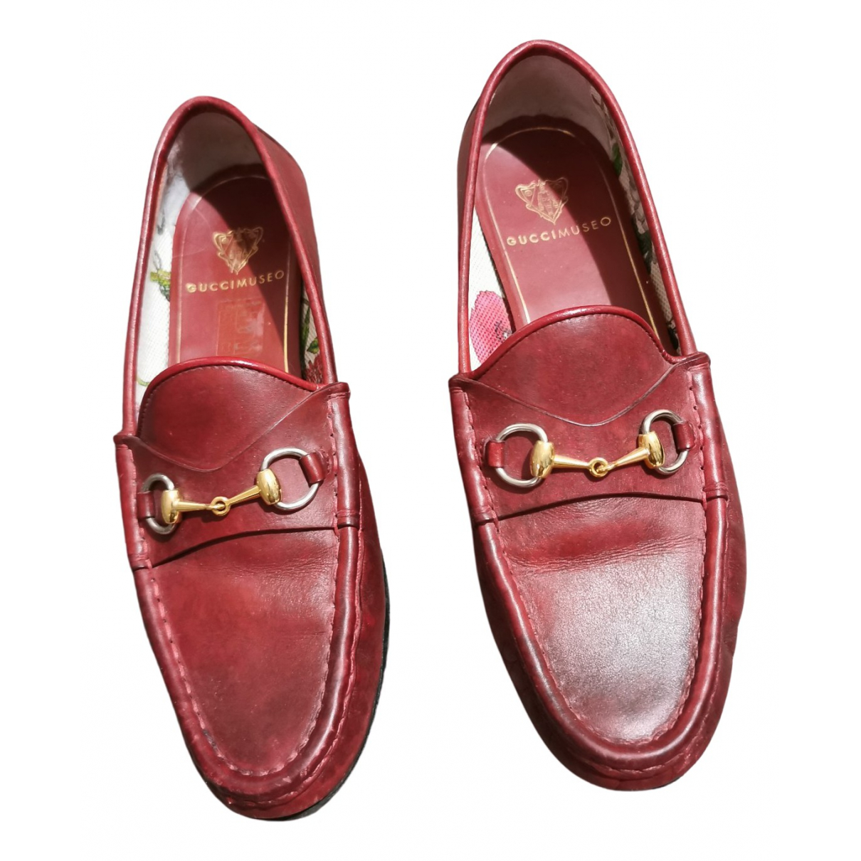 Gucci Brixton Mokassins in  Rot Leder