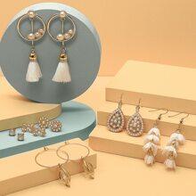 7pairs Flower & Tassel Decor Earrings