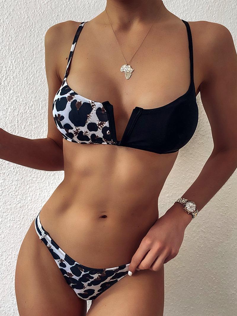 Ericdress Leopard Splice Sexy Tankini Set Swimwear