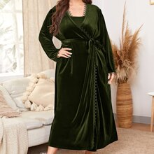 Plus Lace Edge Belted Velvet Robe