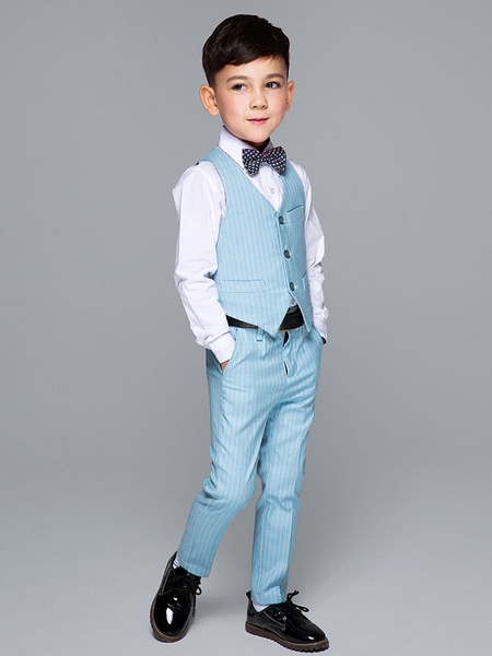 Milanoo Ring Bearer Outfit Wedding Boys Dark Navy Kids Formal Wear 4 Piece