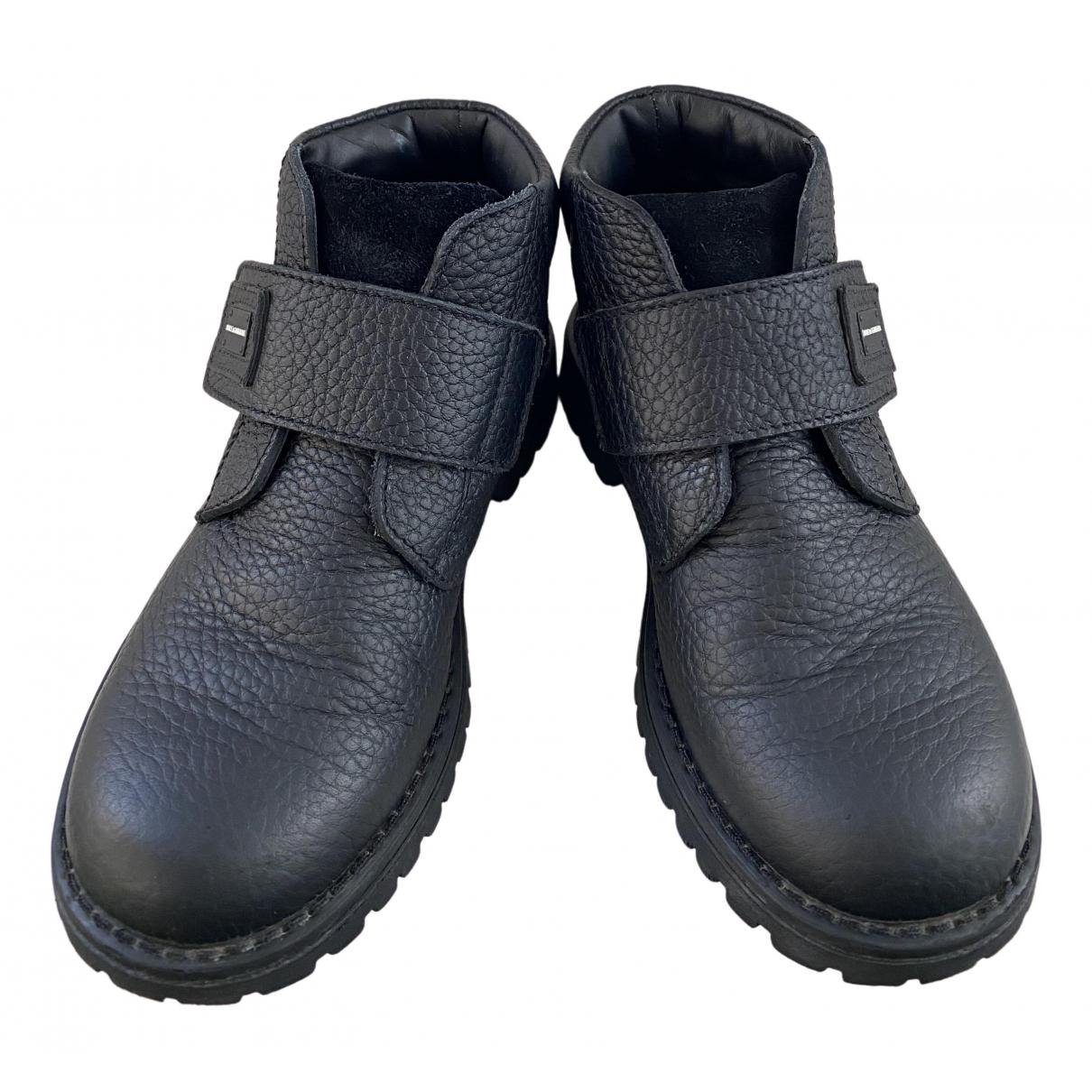 Dolce & Gabbana - Bottes.Bottines   pour enfant en cuir - noir