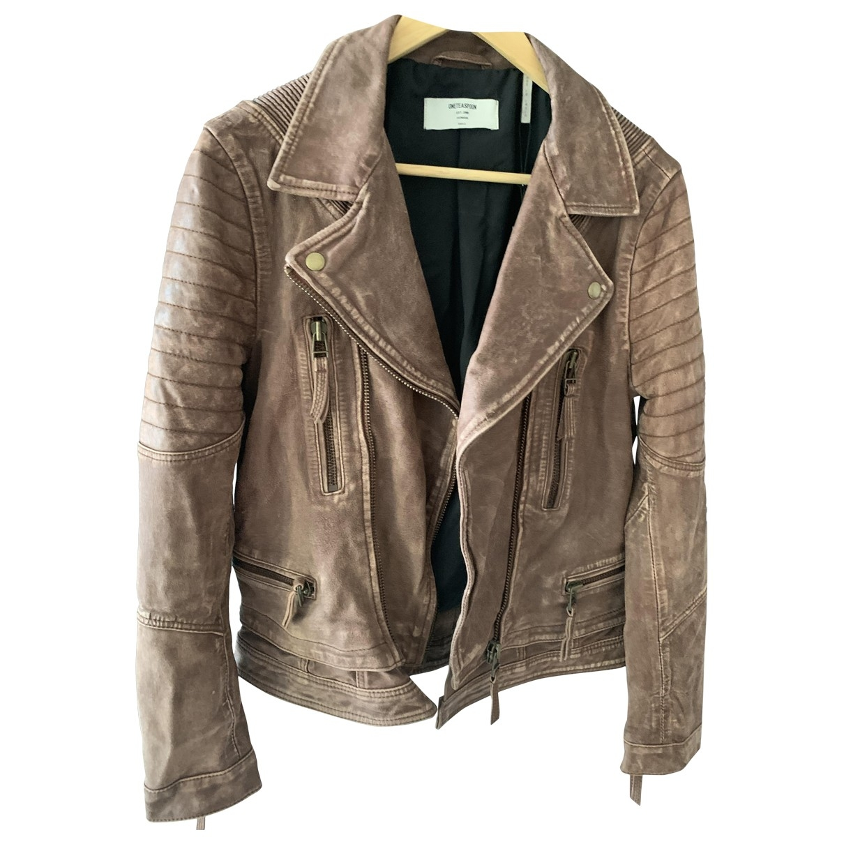 One Teaspoon - Veste   pour femme en cuir - marron