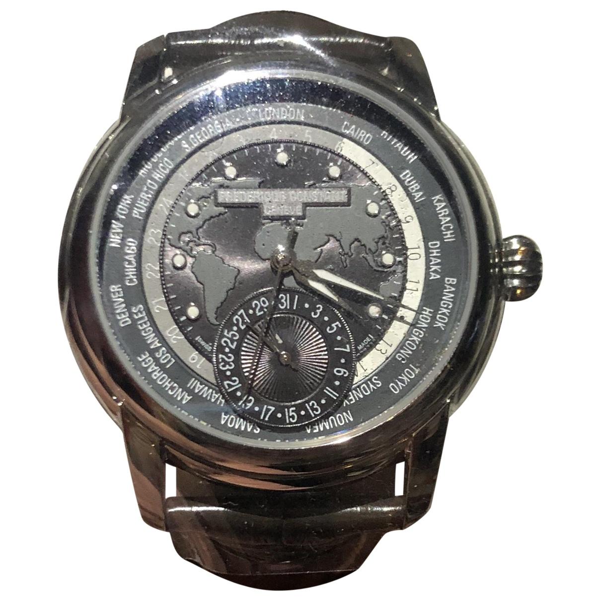 Frederique Constant Worldtimer Manufacture Uhr in  Grau Stahl