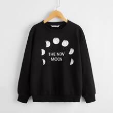 Boys Drop Shoulder Letter & Moon Print Pullover