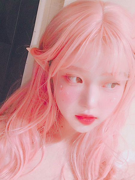 Milanoo Pink Lolita Wig Long Heat Resistant Fiber Lolita Hair Wigs