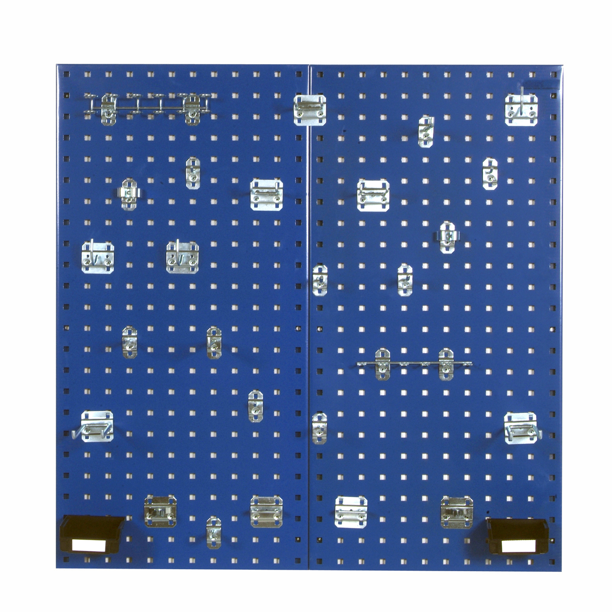 Blue Steel Square Hole Pegboards with 30 pc. LocHook Assortment & Hanging Bin System